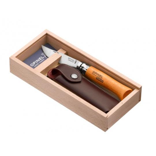 Set Opinel VR N°08 Carbon + pouzdro dřevěná dárková krabička