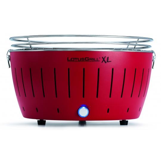 LotusGrill XL Red + ZDARMA 1kg dřevěného uhlí LotusGrill + ZDARMA gelový podpalovač LotusGrill + ZDARMA grilovací kleště LotusGrill